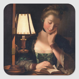 Woman Reading by a Paper-bell Shade, 1766 (oil on Square Sticker