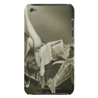 Woman Reading Magazine Barely There iPod Covers