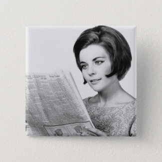 Woman Reading Newpaper 15 Cm Square Badge