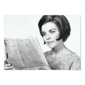 Woman Reading Newpaper Card