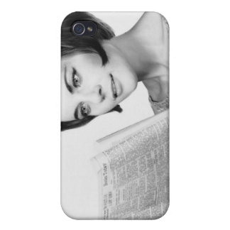 Woman Reading Newpaper Cover For iPhone 4