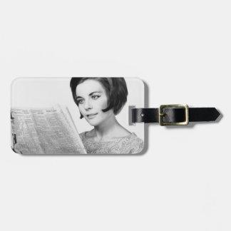 Woman Reading Newpaper Luggage Tag