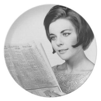 Woman Reading Newpaper Plate