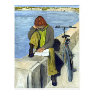 Woman Reading Postcard