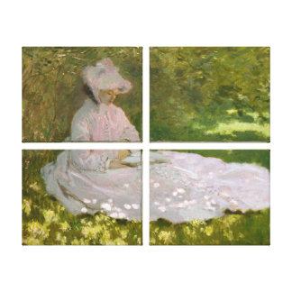 Woman Reading Springtime Monet Canvas Prints