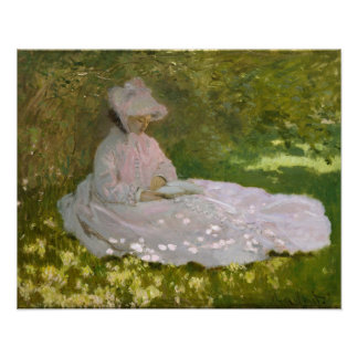 Woman Reading Springtime Monet Poster