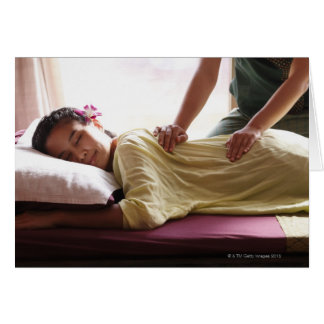 Woman receiving massage #1 greeting cards
