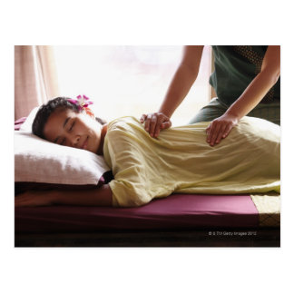 Woman receiving massage 1 post cards