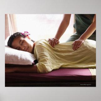 Woman receiving massage #1 poster