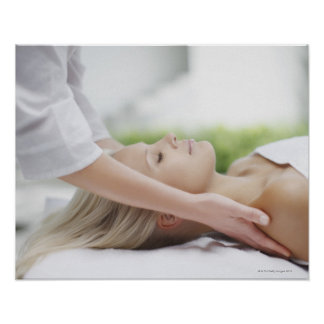 Woman receiving massage poster