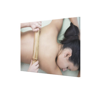 Woman receiving spa treatment canvas print