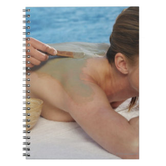 Woman receiving spa treatment, side view, close notebook