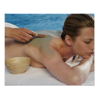 Woman receiving spa treatment, side view, close poster
