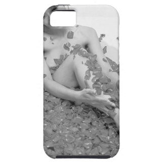 Woman relaxing in hot tub with flower petals, iPhone 5 cases