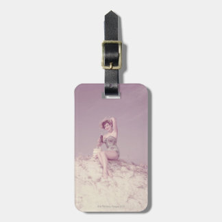 Woman Relaxing on Beach Luggage Tag