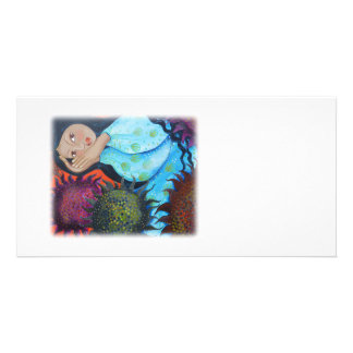 Woman Resting Among Sunflowers. On White. Photo Card