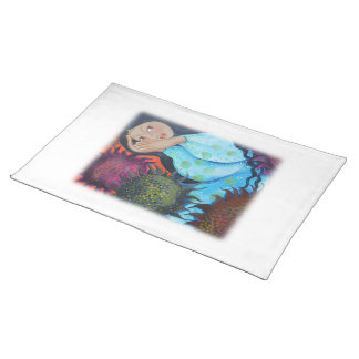 Woman Resting Among Sunflowers. On White. Placemat