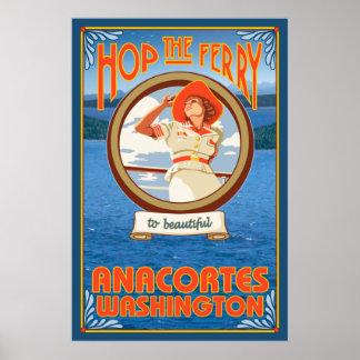 Woman Riding Ferry - Anacortes Washington Poster