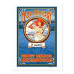 Woman Riding Ferry - Friday Harbour, Washington Postcard