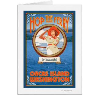 Woman Riding Ferry - Orcas Island, Washington Card