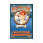 Woman Riding Ferry - Orcas Island, Washington Postcard