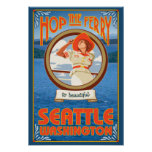 Woman Riding Ferry - Seattle, Washington Print