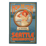 Woman Riding Ferry - Seattle, Washington Wood Canvas