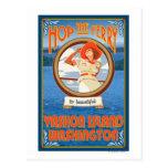 Woman Riding Ferry - Vashon Island, Washington Postcard