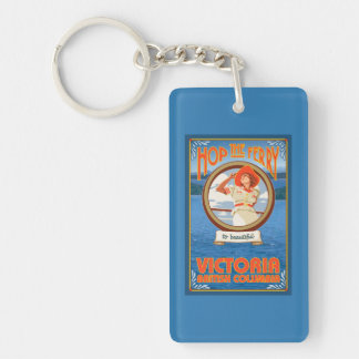 Woman Riding Ferry - Victoria, BC Canada Double-Sided Rectangular Acrylic Key Ring