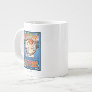 Woman Riding Ferry - Victoria, BC Canada Giant Coffee Mug