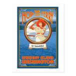 Woman Riding Ferry - Whidbey Island, Washington Postcard