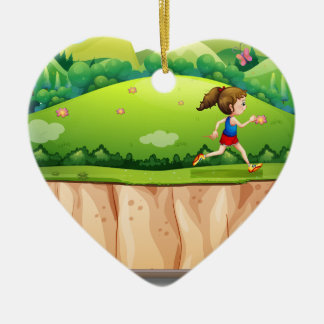 Woman running in the park ceramic heart decoration