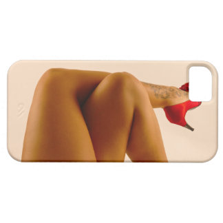 Woman s Crossed Bare Legs with Red High Heels iPhone 5 Cover