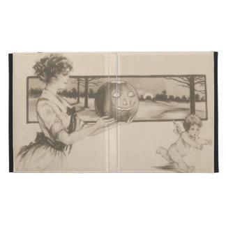 Woman Scaring Cupid Jack O' Lantern Pumpkin iPad Folio Covers