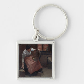 Woman Scouring Silver-Colored Square Key Ring