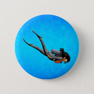 Woman SCUBA Diving 6 Cm Round Badge