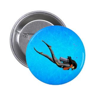 Woman SCUBA Diving 6 Cm Round Badge