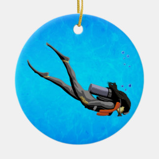 Woman SCUBA Diving Christmas Ornament