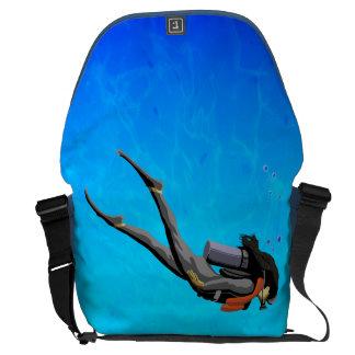 Woman SCUBA Diving Messenger Bag