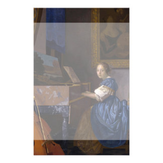 Woman Seated at a Virginal by Vermeer 14 Cm X 21.5 Cm Flyer