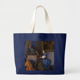 Woman Seated at a Virginal by Vermeer Large Tote Bag