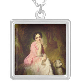 Woman Seated in a forest glade Square Pendant Necklace
