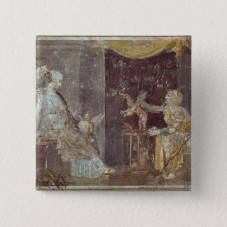 Woman selling Cupids, from Stabiae 15 Cm Square Badge