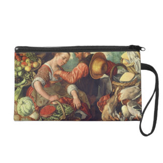 Woman Selling Vegetables, 1567 (oil on canvas) Wristlet Clutch