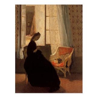 Woman Sewing at a Window by Gwen John Postcard