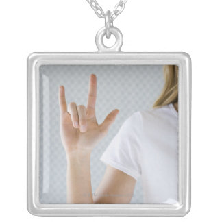 Woman signing I love you. Silver Plated Necklace