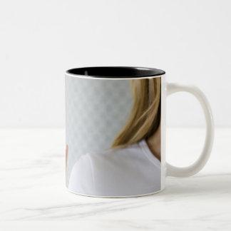 Woman signing I love you. Two-Tone Coffee Mug
