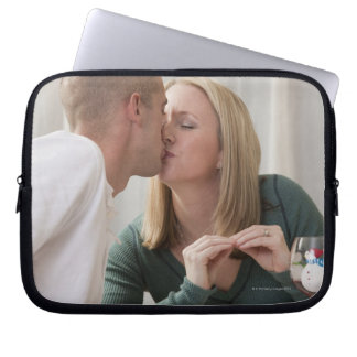 Woman signing the word 'Kiss' in American Sign Laptop Sleeve