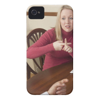 Woman signing the word 'Rent' in American Sign iPhone 4 Case-Mate Cases
