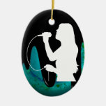 WOMAN SINGER PRODUCTS Double-Sided OVAL CERAMIC CHRISTMAS ORNAMENT